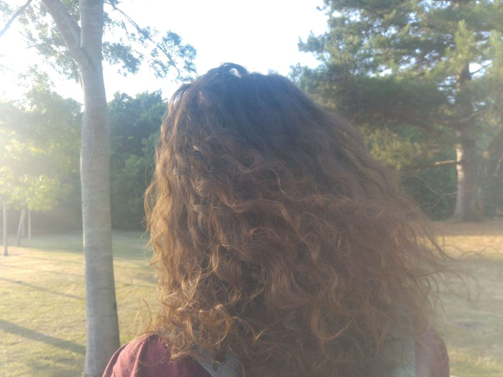 a tree at the left of the picture, sun shining down on curly hair and grass in the background